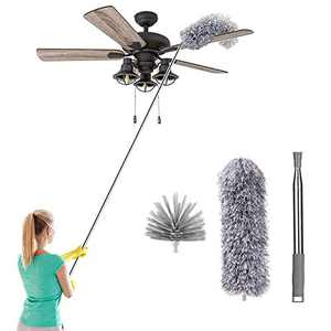 """Microfiber Feather Duster with 100"""" Extension Pole, Cobweb Dusters for Cleaning High Ceiling, Ceiling Fan, Blinds, Furniture, Keyboard, Cars, Washable Bendable Head Dusters"""