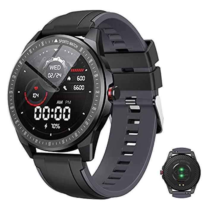 "Vigorun Smart Watch, 1.3"" Full TouchScreen Bluetooth Smartwatch for Men Women, IP68 Waterproof Fitness Tracker with 10 Sport Modes, Blood Oxygen Heart Rate Sleep Monitor Pedometer (Gray)"