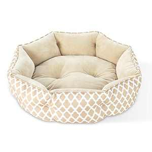 JOYO Cat Beds for Indoor Cats, 20 inch Pet Bed Machine Washable with Non-Slip Bottom for Cats or Small Dogs, Double Sided Cat Cushions Bed, Soft Round Sofa Bed for Kitties Puppy, Beige