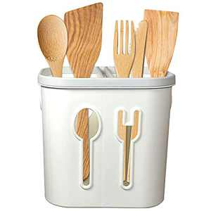 Kitchen Utensil Holder with Drain Holes Large Two Compartments Utensil Holder for Party Utensil Caddy for Countertop Easy Clean Fork & Spoon Holder for Kitchen and Picnic(White PP Plastic)