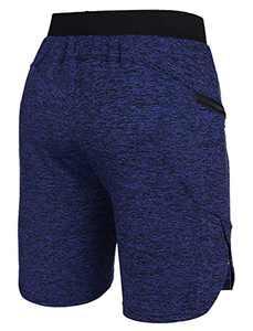 Deyeek Mens Training Workout Shorts Stretch Lightweight Loose Fit Casual Lounge Gym Side Hem Shorts Navy Blue