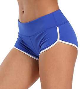 ENEESSI Women's Workout Booty Shorts, Athletic 4-Way Stretch Yoga Shorts, Gym Shorts Blue/White