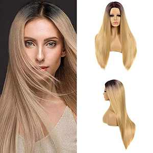 Long Straight Wigs for Women 29 Inch Synthetic Middle Part Hair Wigs Natural Looking Heat Resistant Daily Party Use