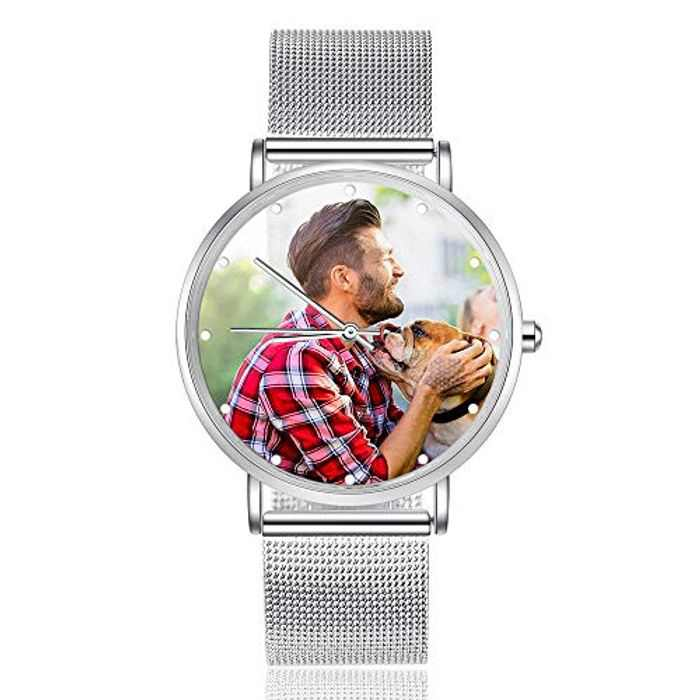 Albertband Women's Watch Personalized Photo Watches Leather Strapped Watches Women Men Wristwatch for Father's Day Mothers Gift