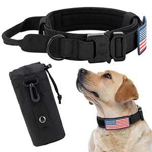 INVENHO Tactical Dog Collar for Medium Large Dogs with USA American Flag Military Training Adjustable Collar with Handle and Thick Heavy Duty Buckle Dog Collar with Bottle Pouch Dog Collars Black XL