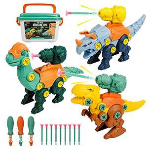 Icnice Dinosaur Toys for Kids, 3Pack Take Apart Dinosaur Shooting Toys Construction Building Toy with Drill STEM Learning Set for Preschool Well Package Storage Box Educational Gift for Boys Girls 3-5