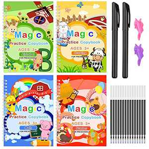 Magic Practice Copybook for Kids Reusable Handwriting Workbook Set Template Design Calligraphy Workbook with Magical Pen Alphabet Number Drawing Math(4 Books with Pens)