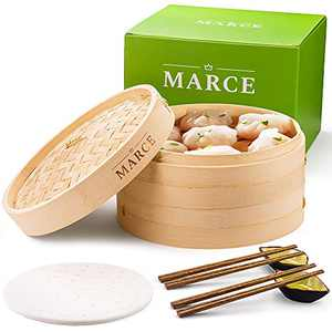 Marce Bamboo Steamer 10 Inch Handmade - 2 Tier Baskets, 2 pair of Chopsticks, 2 Sauce Dishes & 50 Paper Liners. Steam Cooker for Healthy Food, Dumpling, Dim Sum, Vegetables, Fish & Meat