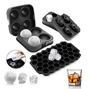 Ice Cube Tray, Moyisea Silicone Ice Trays for Freezer with Lid, 3 Pack Honeycomb Skull Sphere Round Ice Cube Mold, Reusable Ice Cube Tray for Chilling Whiskey Cocktail with Funnel and Measuring Cup