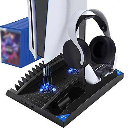PS5 Stand Playstation 5 Accessories Vertical Stand, Headphone Stand, Dual Controller Charging Station and 17 Game Disc Slots,PS5 Console Use for PS5 Games, PS5 Digital Edition, PS5 Disc Version