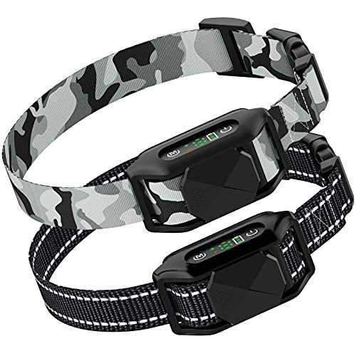 FunniPets Dog Bark Collar, Upgraded Safe Anti Barking Collar with Beep, Vibration, Shock, Rechargeable and Waterproof No Bark Collar for Small Medium Large Dogs, 2 Pack