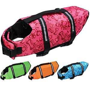 Cielo Meraviglioso Dog Life Jacket, Dog Swimsuit Safety Flotation Vests Pet Life Preserver Savers with Lift Handle Reflective Stripes for Small Medium Large Dogs Swimming Boating (Pink, Medium)