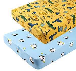 Tontukatu Stretchy Crib Sheets Set 2 Pack Ultra Soft Jersey Knit Penguin Crocodile Monkey Portable Crib Mattress Topper for Baby Boy Girl,Full Standard Blue Yellow Green