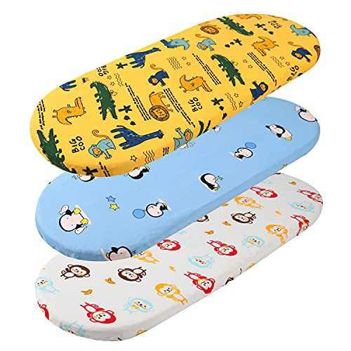 Tontukatu Bassinet Sheet Set 3 Pack Jersey Knit Ultra Soft Penguin Lion Alpaca Crocodile Monkey for Baby Boy Fit for Halo, MiClassic, Chicco Lullago Mattress and More