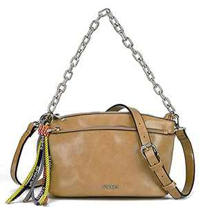 Small Crossbody Bags for Women Pu Leather Handbags Double Zip Pockets Cross Body Purses and Top Handle Satchel with Chain (Brown)
