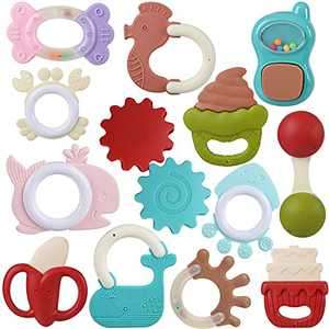 FAHZON Baby Rattle Sets , 13Pcs Teether Toys with Storage Box for Babies 0-6-12 Months, Infant Toys for Girl and Boy, Newborn Gifts