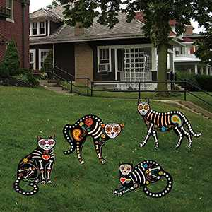 """Fanboxk 4Pcs Halloween Decorations Outdoor Fluorescence Skeleton Cat,Scary Creepy Halloween Outdoor Decor Skeleton Animals- 16""""x 14"""" Halloween Cat Silhouette Yard Signs with Stakes."""