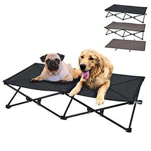 KingCamp Elevated Dog Bed with Separate Washable Sleeping Mat Raised Dog Bed Large Dog Cot Outdoor Dog Bed Pet Folding Dog Cot Stable Durable Frame Breathable Mesh Camping Indoor+Carrying Bag