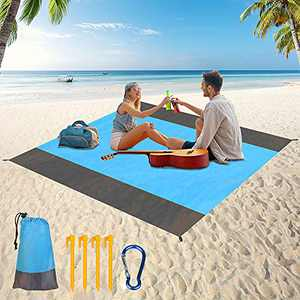 SHIWOJIA Beach Blanket, 79''×83'' Picnic Blankets Waterproof Sandproof for 4-7 Adults, Oversized Lightweight Beach Mat, Portable Picnic Mat, Sand Proof Mat for Travel, Camping, Hiking, w/Bag Packable