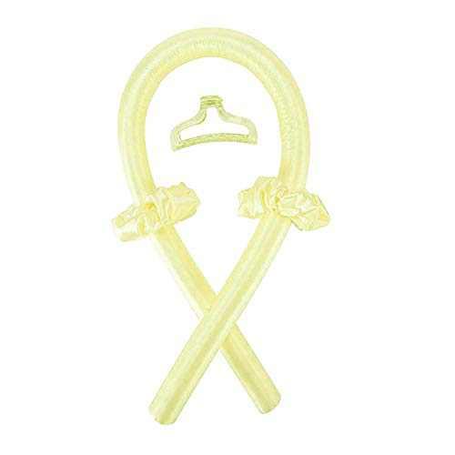 Heatless Curling Rod Headband Set,No Heat Curls Silk Ribbon Hair Rollers Sleeping Soft Headband Wave Formers Hair Curlers DIY Hair Styling Tools for Long Medium Hair (Beige)