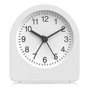 Classic Analog Alarm Clock with Snooze and Night Light, 3 Inch Super Silent No-Ticking Quartz Battery Operated Bedside Alarm Clock, Best for Heavy Sleepers (White)