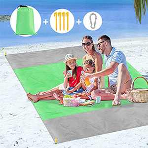 Bossdan Beach Blanket, 79''×83'' Picnic Blankets Waterproof Sandproof Oversize Blanket for 4-8 Adults, Portable Waterproof Soft Fast Drying Nylon, Outdoor Blanket for Travel, Camping, Hiking