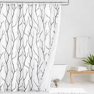 KGORGE Shower Curtains for Bathroom - Waterproof Tree Branches Pattern on White Curtains for Outdoor Swimming Pool Bathtubs Toilet, Grey, 72 x 72 inches Long, Hooks Included