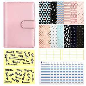 29 Pcs A6 Budget Binder Set, 6 Round Ring PU Leather Binder Cover, with 12 Cash Envelopes,12 Expense Budget Sheets, 4 Label Stickers for Bill Planner, System Budget Planner Organizer(Pink)