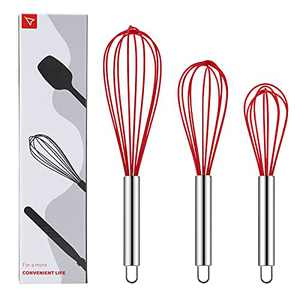 SIMEEGO Silicone Whisk, Sturdy Color Balloon Line Whisk Set of 3 Pieces, Upgraded Kitchen Mixer, Stainless Steel Handle, Chef's Best Kitchen Tools for Cooking, Stirring, Mixing, Battering, Stirring
