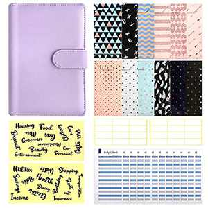 29 Pcs A6 Budget Binder Set, 6 Round Ring PU Leather Binder Cover, with 12 Cash Envelopes,12 Expense Budget Sheets, 4 Label Stickers for Bill Planner, System Budget Planner Organizer(Purple)