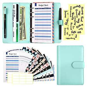 29 Pcs A6 Budget Binder Set, 6 Round Ring PU Leather Binder Cover, with 12 Cash Envelopes,12 Expense Budget Sheets, 4 Label Stickers for Bill Planner, System Budget Planner Organizer(Blue)