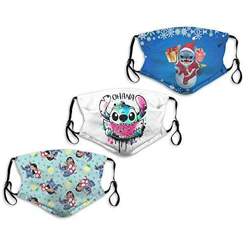 Face Mask Lilo & Stitch Santa Eating Watermelon Pineapple 3PC with 6 Filters Reusable Washable Adjustable Masks Men Women Made in USA