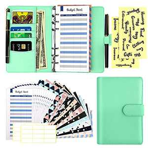 29 Pcs A6 Budget Binder Set, 6 Round Ring PU Leather Binder Cover, with 12 Cash Envelopes,12 Expense Budget Sheets, 4 Label Stickers for Bill Planner, System Budget Planner Organizer(Green)
