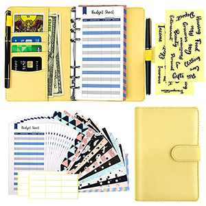 29 Pcs A6 Budget Binder Set, 6 Round Ring PU Leather Binder Cover, with 12 Cash Envelopes,12 Expense Budget Sheets, 4 Label Stickers for Bill Planner, System Budget Planner Organizer(Yellow)