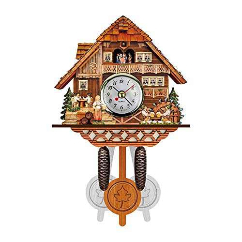 Cuckoos Clock Quartz Wall Clock Pendulum Movable Bird Clock (F)