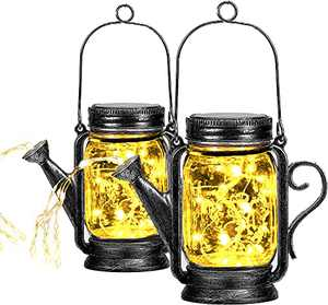 2 Pack Outdoor Hanging Solar Lanterns Mason Jar Solar Lights, Watering Can Lights with 45 Led String Lights for Patio Yard Walkway Garden Decorations - Waterproof Jars and Lids Included