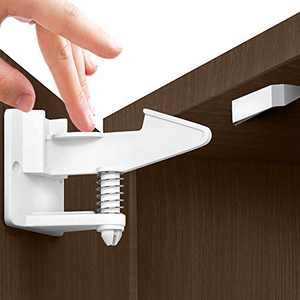 Child Proof Locks for Cabinet Doors (12 PACK +GIFT) Invisible Child Cabinet Locks - Baby Locks for Cabinets and Drawers - Baby Cabinet Safety Latches - Child Locks for Kitchen Cabinets - Baby Proofing