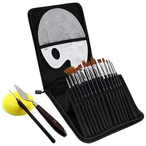 RWWXII Artist Paint Brush Set 15 Pcs Professional Watercolor Paint Brush in Carrying Case for Beginners and Professionals, Great Acrylic Paint Brushes for Acrylic Painting