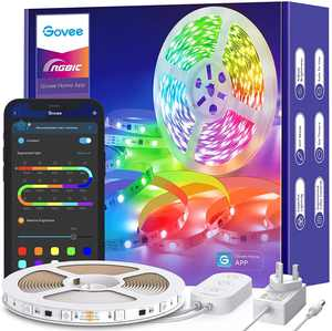 Govee RGBIC LED Strip Lights, 5m Bluetooth Colour Changing Rainbow LED Lights, Segmented APP Control Smart Colour Picking, Multicolour Music Sync LED Lights for Bedroom, Living Room, Kitchen, Party