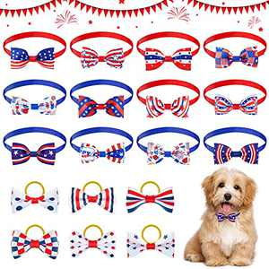 12 Pieces American Flag Bow Ties Dog Collar Adjustable Puppy Cat Bowtie and 6 Independence Day Pet Bow with Rubber Band Patriotic Pet Costume Accessories for Small Medium Dog Cat Festival Holiday