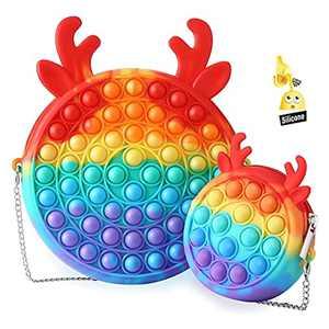 2Pcs Pop Purse Fidget Toys for Girls, Push Bubble Pop Shoulder Bag Fidget School Supplies Halloween Christmas Party Best Gifts,Stress Relief Anxiety Pop Bag Sensory Fidget Toys for Kids(Rainbow)