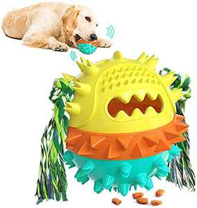 Dog Chew Toys for Aggressive Chewer, Dog Squeaky Toys, Indestructible Interactive Treat Toys for Large Medium Dogs, Fun to Chew, Chase and Fetch, Dog Ball Toys (Green&Yellow, Large)