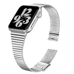 HAYUL Bands Compatible with Apple Watch Band 38mm 40mm 42mm 44mm, Stylish Thin Stainless Steel Metal Slim Bands Replacement for iWatch Series 6/5/4/3/2/1 & iWatch SE Women Men (Silver, 38/40mm)