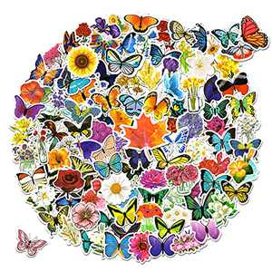108 Pieces Mixed Flower Butterfly Stickers for Laptop,Waterproof Flower Stickers for Water Bottles ,Cute Butterfly Decals for Parents,Teens
