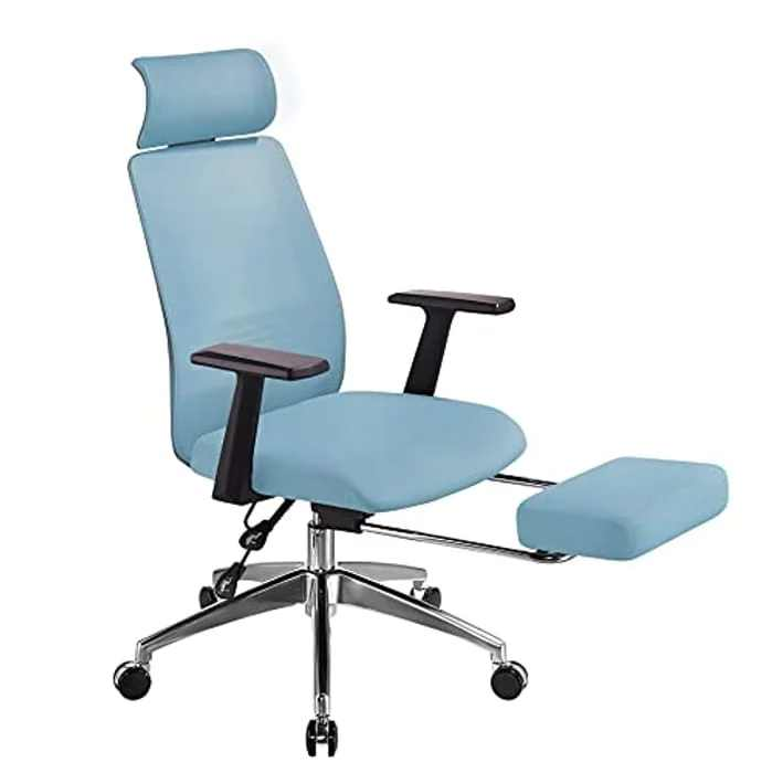 AmaMu Ergonomic Office Chair High Back Desk Chair Height Adjustable Seat and Tilt Function, Computer Chair with Lumbar Support & Footrest for Heavy and Tall People Blue Office Chair