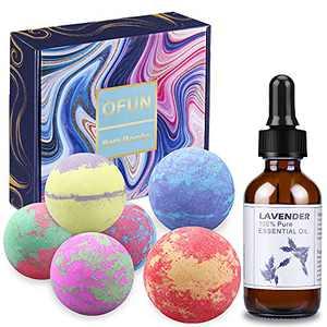 Bath Bombs Gift Set - 6X Bubble Bath Bombs Rich in Shea Butter Coconut Oil to Moisturize Skin | 1x Organic Lavender Essential Oil 2Fl Oz / 60ml | Spa Kit for Women, Mom, Girls