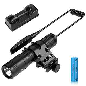 AUCLAYTEC Super Bright Tactical Flashlight,1250 Lumen Weapon Light with Picatinny Mount,Rechargeable Batteries and Remote Pressure Switch,Compatible with AR, Accessories with Picatinny Track.