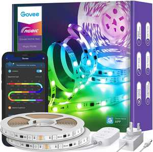 Govee RGBIC LED Strip Lights, 10m Bluetooth Colour Changing Rainbow LED Lights, Segmented APP Control Smart Colour Picking, Multicolour Music Sync LED Lights for Bedroom, Living Room, Kitchen, Party