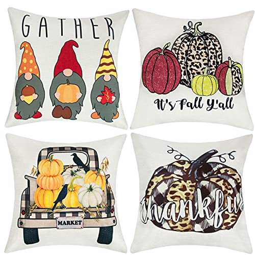 Fall Pillow Covers 18x18 Set of 4, Holiday Outdoor Fall Throw Pillows, Thanksgiving Gnomes Pumpkin Autumn Pillow Covers for Couch Sofa Decor