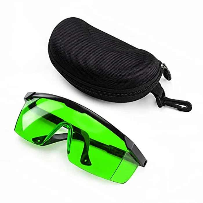 KAIWEETS KT300P Green Laser Protective Glasses for Eye Protection, Laser Enhancement Protective Eyewear for Laser Level, Hair Removal Laser Treatment Safety Goggles with Storage Case